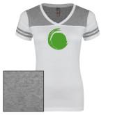 Ladies White/Heathered Grey Juniors Varsity V Neck Tee-Green Dot