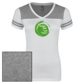 Ladies White/Heathered Grey Juniors Varsity V Neck Tee-Tagline Inside