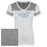 Ladies White/Heathered Grey Juniors Varsity V Neck Tee-Alteristic