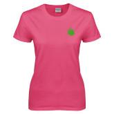 Ladies Fuchsia T Shirt-Green Dot