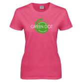 Ladies Fuchsia T Shirt-Text Across Design