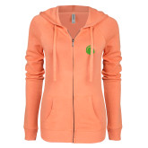 ENZA Ladies Coral Light Weight Fleece Full Zip Hoodie-Green Dot