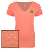 ENZA Ladies Coral Melange V Neck Tee-Green Dot
