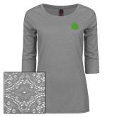 Ladies Grey Heather Lace 3/4 Sleeve Tee-Green Dot