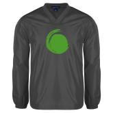 V Neck Charcoal Raglan Windshirt-Green Dot