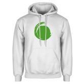 White Fleece Hoodie-Green Dot