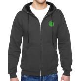 Charcoal Fleece Full Zip Hoodie-Green Dot