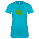 Next Level Ladies SoftStyle Junior Fitted Ice Blue Tee-Green Dot