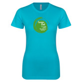 Next Level Ladies SoftStyle Junior Fitted Ice Blue Tee-Tagline Inside