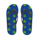 Ladies Full Color Flip Flops-Green Dot