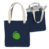 Allie Navy Canvas Tote-Green Dot