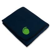 Navy Arctic Fleece Blanket-Green Dot