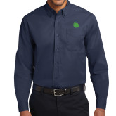 Navy Twill Button Down Long Sleeve-Green Dot