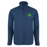Navy Softshell Jacket-Green Dot