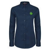 Ladies Navy Twill Button Down Long Sleeve-Green Dot