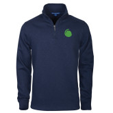 Navy Slub Fleece 1/4 Zip Pullover-Green Dot