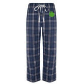 Navy/White Flannel Pajama Pant-Green Dot