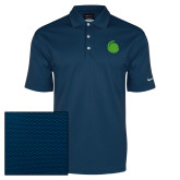 Nike Dri Fit Navy Pebble Texture Sport Shirt-Green Dot