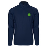 Sport Wick Stretch Navy 1/2 Zip Pullover-Green Dot