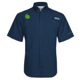 Columbia Tamiami Performance Navy Short Sleeve Shirt-Green Dot