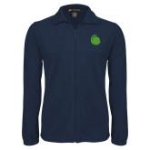 Fleece Full Zip Navy Jacket-Green Dot