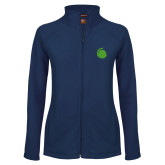 Ladies Fleece Full Zip Navy Jacket-Green Dot
