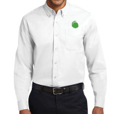 White Twill Button Down Long Sleeve-Green Dot