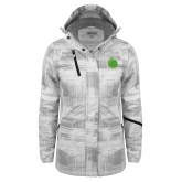 Ladies White Brushstroke Print Insulated Jacket-Green Dot