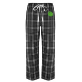Black/Grey Flannel Pajama Pant-Green Dot