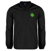 V Neck Black Raglan Windshirt-Green Dot