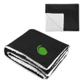 Super Soft Luxurious Black Sherpa Throw Blanket-Green Dot