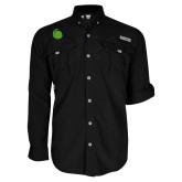 Columbia Bahama II Black Long Sleeve Shirt-Green Dot