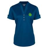 Ladies Ogio Indigo Blue Fashion Henley-Green Dot