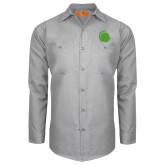 Red Kap Light Grey Long Sleeve Industrial Work Shirt-Green Dot