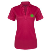 Ladies Pink Raspberry Silk Touch Performance Polo-Green Dot