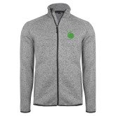 Grey Heather Fleece Jacket-Green Dot
