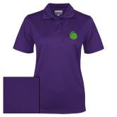 Ladies Purple Dry Mesh Polo-Green Dot