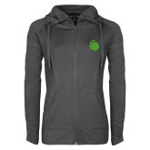 Ladies Sport Wick Stretch Full Zip Charcoal Jacket-Green Dot