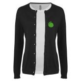 Ladies Black Cardigan-Green Dot