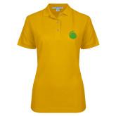 Ladies Easycare Gold Pique Polo-Green Dot