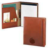 Cutter & Buck Chestnut Leather Writing Pad-Green Dot  Engraved
