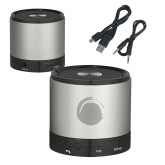Wireless HD Bluetooth Silver Round Speaker-Green Dot  Engraved