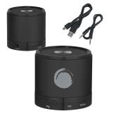 Wireless HD Bluetooth Black Round Speaker-Green Dot  Engraved
