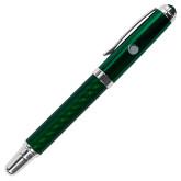 Carbon Fiber Green Rollerball Pen-Green Dot  Engraved