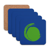 Hardboard Coaster w/Cork Backing 4/set-Green Dot