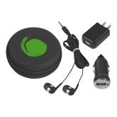 3 in 1 Black Audio Travel Kit-Green Dot