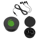 Ear Buds in Black Case-Green Dot