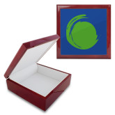 Red Mahogany Accessory Box With 6 x 6 Tile-Green Dot