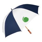 62 Inch Navy/White Vented Umbrella-Green Dot