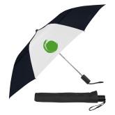 42 Inch Slim Stick Black/White Vented Umbrella-Green Dot